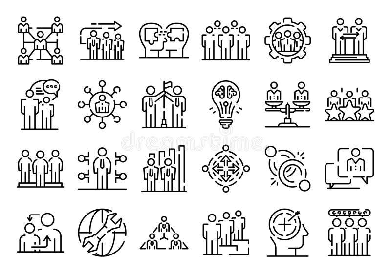 Duży set cienkie kreskowe ikony odnosić sie z dział zasobów ludzkich zarządzaniem odizolowywającym na bielu ilustracja wektor