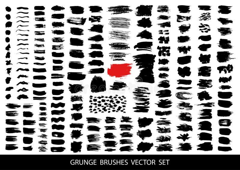 Duży set czarna farba, atramentu muśnięcia uderzenia, muśnięcia, wykłada Brudni artystyczni projektów elementy, pudełka, ramy dla royalty ilustracja