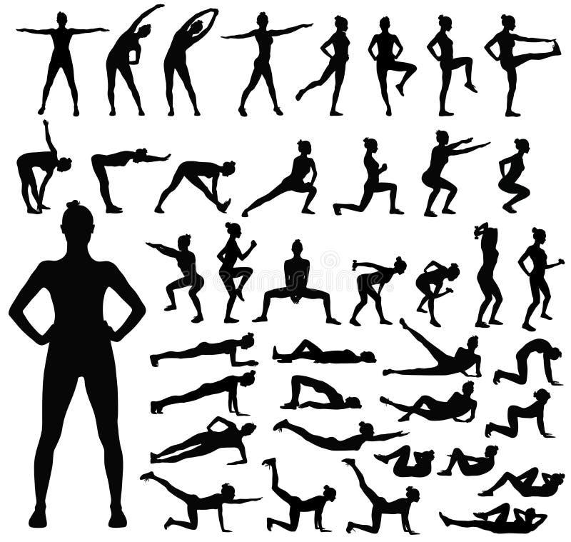 Duży set czarne sylwetki robi sprawność fizyczna treningowi kobieta royalty ilustracja