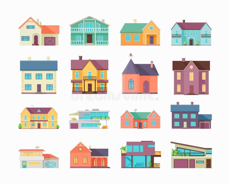 Duży set domy, budynki i architektury, royalty ilustracja