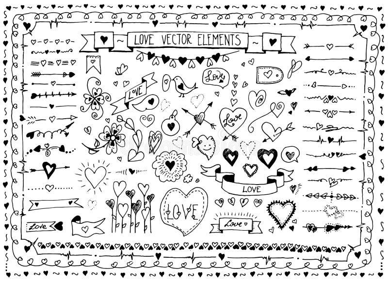 Duży set doodle nakreślenia ręka rysujący kierowi elementy Wektorowy ustawiający projekt miłości elementy na białym tle royalty ilustracja