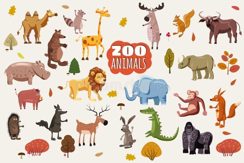 Duży set dzikie zwierzę kreskówki wektory Afrykanina, australijczyka, azjata, Południowych i Północnoamerykańskich fauna drapieżn ilustracji
