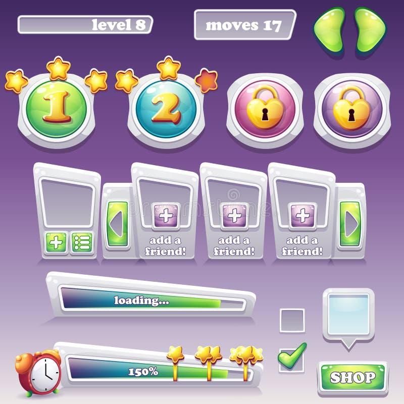 Duży set elementy dla gier komputerowych i sieć projekta progress royalty ilustracja