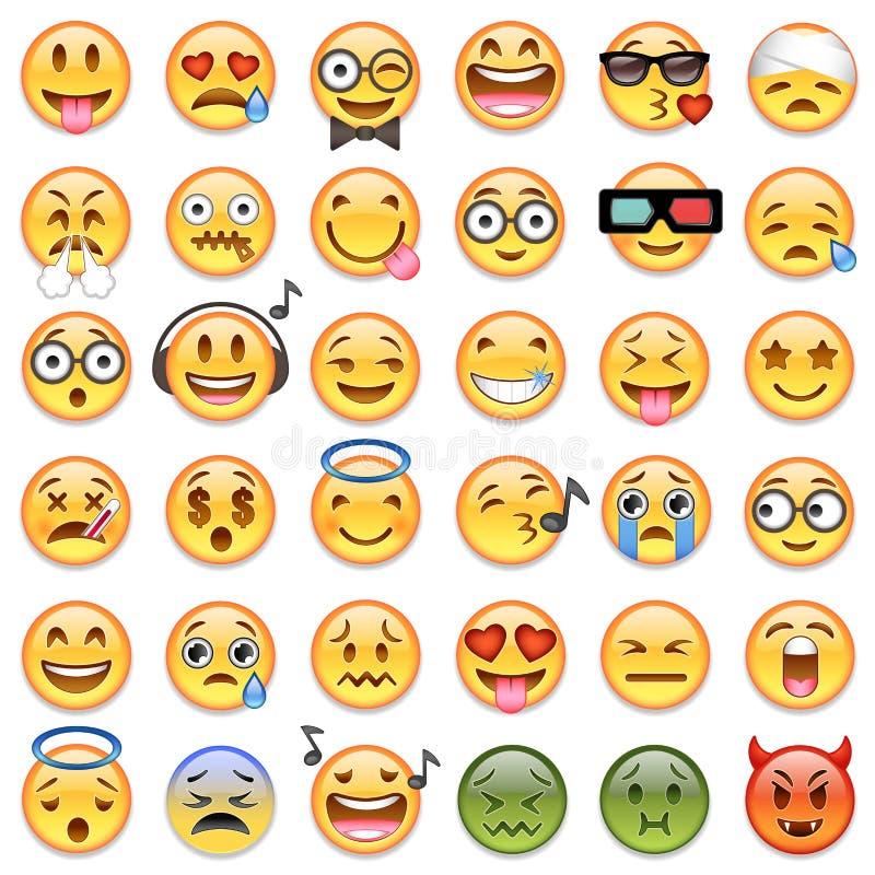 Duży set 36 emojis emoticons royalty ilustracja