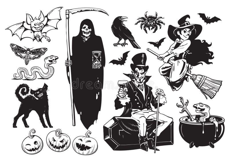 Duży set Halloweenowi przedmioty ilustracji