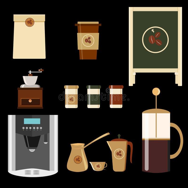 Duży set ikony w mieszkanie stylu Elegancki kawowy ustawiający ikony Kawa, kawa pije, kawowi garnki i inni przyrząda, ilustracji