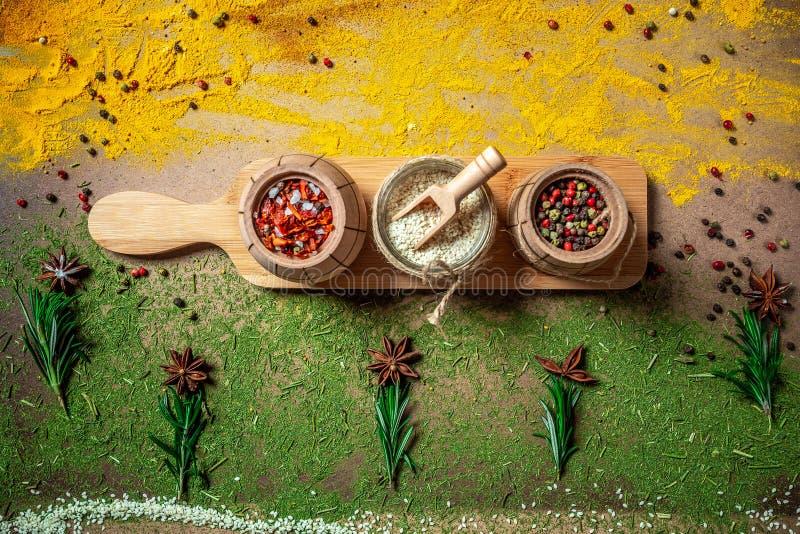 Duży set Indiańskie pikantność i ziele na drewnianej desce Mieszkanie nieatutowy kosmos kopii fotografia royalty free