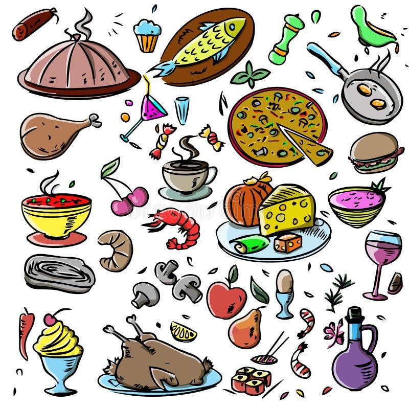 Duży set: karmowych ikon różnorodni wyśmienicie naczynia kuchnia tradycyjna Główny kurs Zdrowy szybkie żarcie, owoce morza, fast  royalty ilustracja