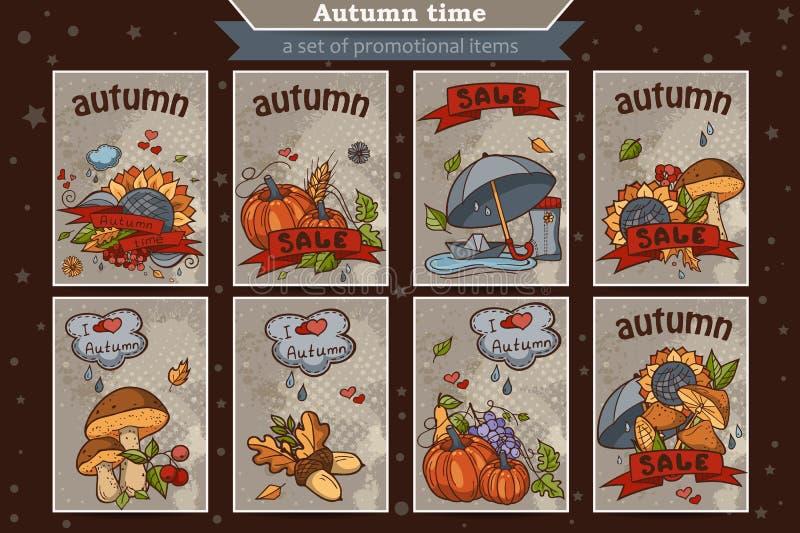 Duży set karty od pionowo barwionych doodles na temat jesieni ilustracja wektor
