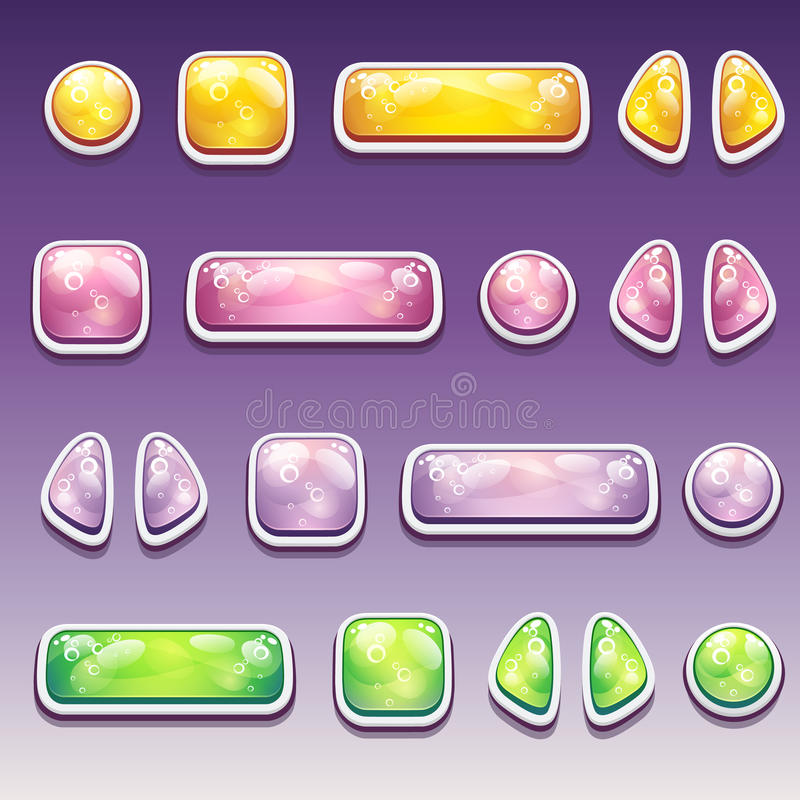 Duży set kolorowi kreskówka guziki różni kształty dla ilustracji