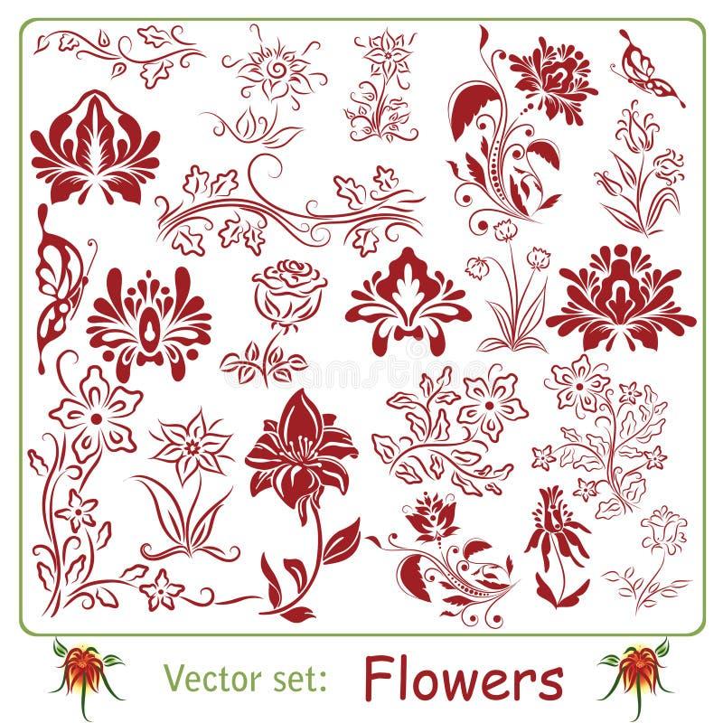 Duży set kwiaty ilustracja wektor
