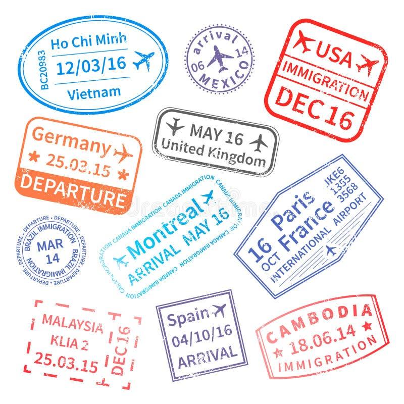 Duży set Międzynarodowej podróży wizy znaczki na bielu ilustracja wektor