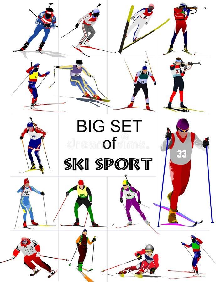 Duży set Narciarskiego sporta barwione sylwetki , royalty ilustracja