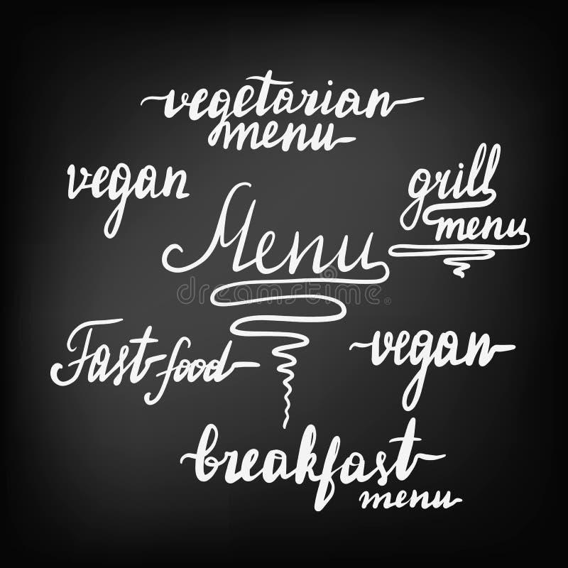 Duży set piękny literowanie dla menu kawiarnie i restauracje ilustracji