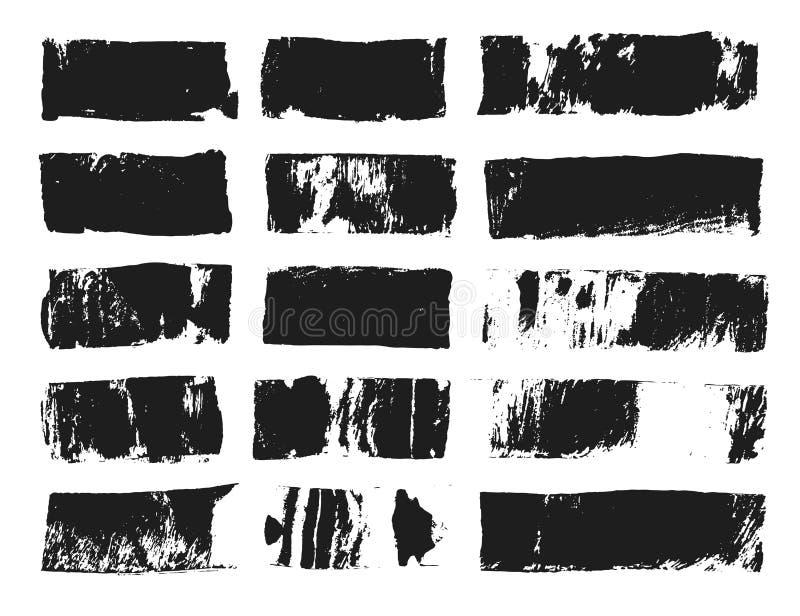 Duży set prostokątny teksta pudełko Grunge farby lampas Wektoru muśnięcia uderzenie Czarni grunge punkty z miejscem dla twój teks obraz royalty free