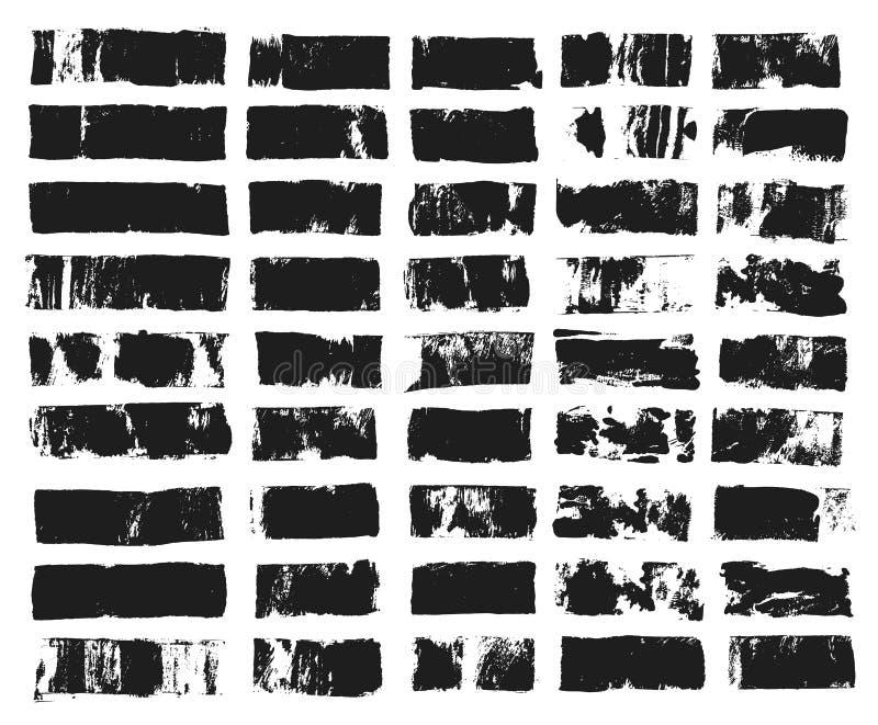 Duży set prostokątny teksta pudełko Grunge farby lampas Wektoru muśnięcia uderzenie Czarni grunge punkty z miejscem dla twój teks zdjęcie stock