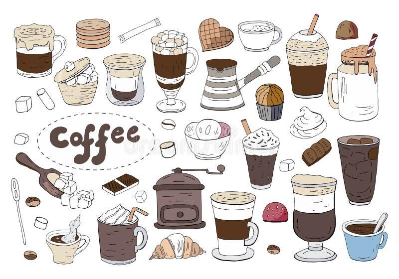 Duży set różna kawa i napoje odizolowywający na białym tle Ręka rysująca wektorowa kawowa kolekcja royalty ilustracja