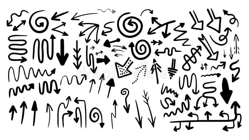 Duży set różna ręka rysować strzały Kierunki i formy Kresk?wka minimalizmu styl royalty ilustracja