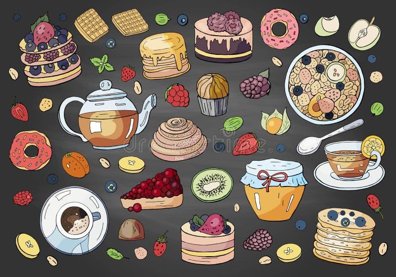Duży set różni elementy śniadanie na chalkboard ilustracja wektor