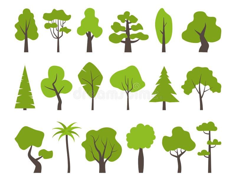 Duży set różnorodni zieleni drzewa Drzewne ikony ustawiać w nowożytnym mieszkaniu projektują r royalty ilustracja