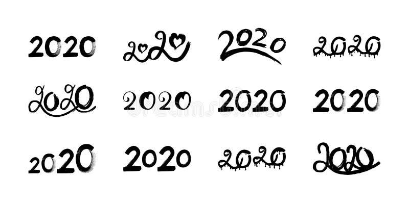 Duży set rysujący 2020 ręka, wektorowa ilustracja na bielu ilustracji