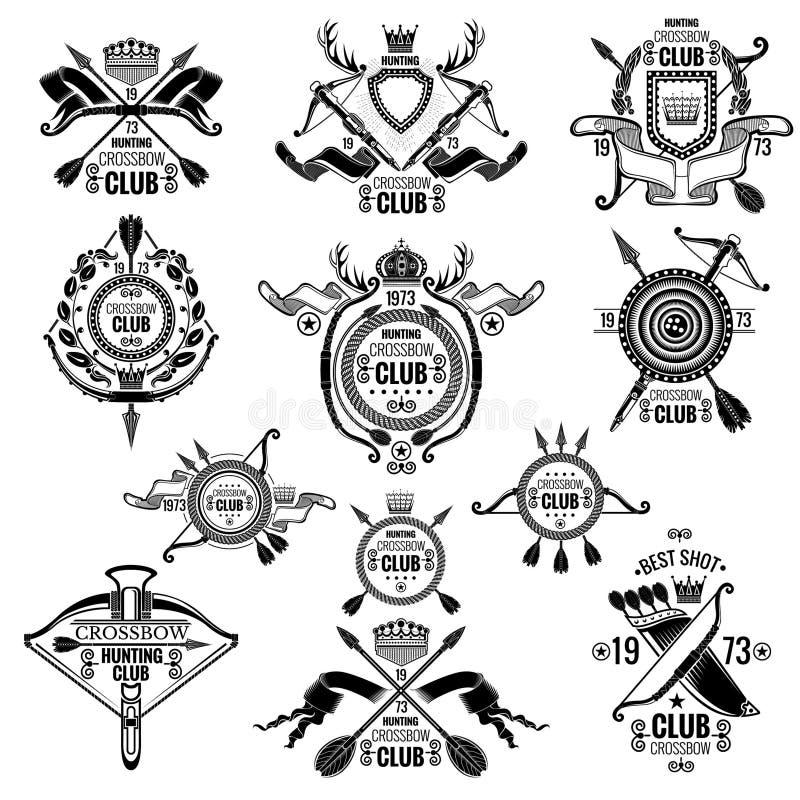 Duży set wektorowi emblematy dla łęku tem, crossbow klubu i łowieckiego skojarzenia odizolowywających, ilustracja wektor