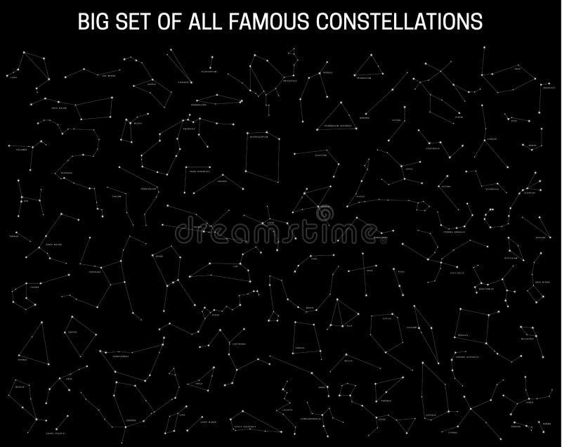 Duży set wszystkie sławni gwiazdozbiory, nowożytni astronomiczni znaki zodiak ilustracja wektor