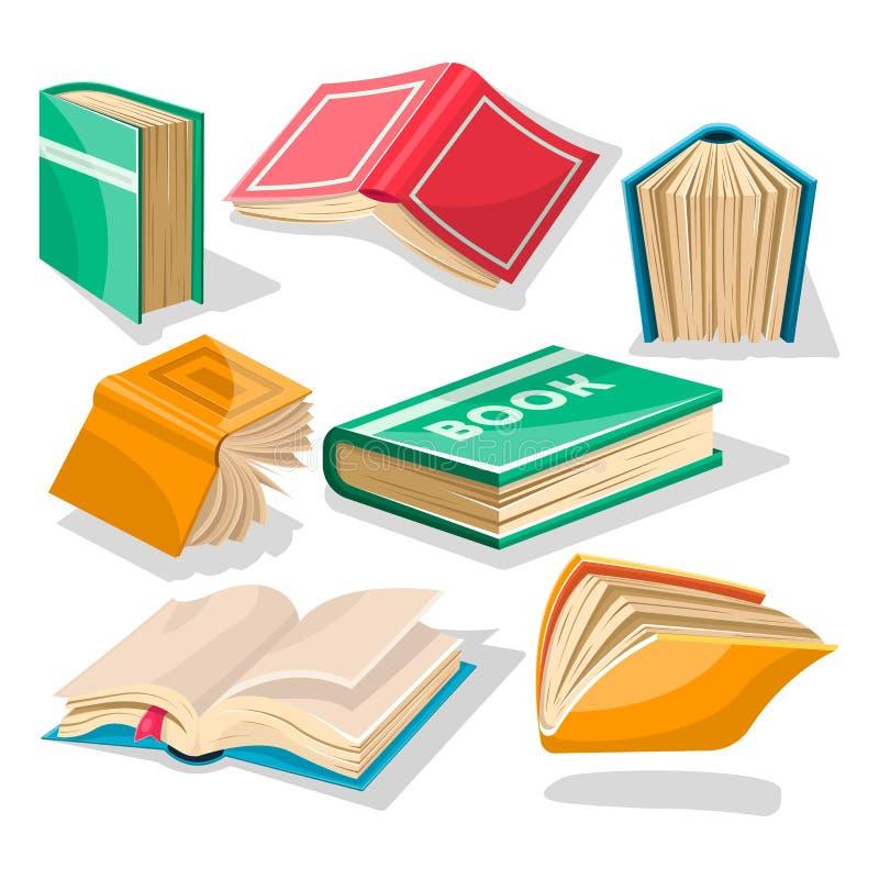 Duży set z czerwienią, kolorem żółtym, zielenią, błękit książkami w różnych pozycjach, otwierać i zamykać ilustracja wektor