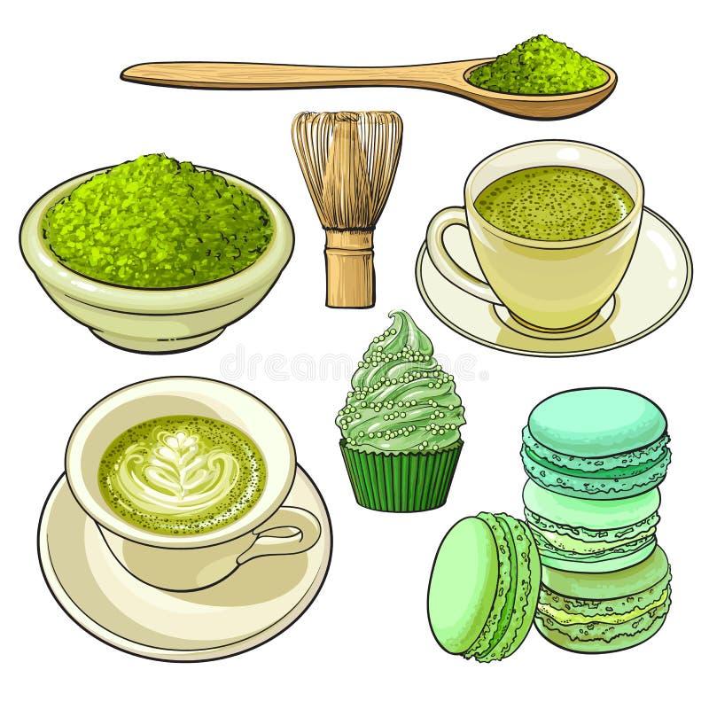 Duży set zielona herbata, jedzenie i akcesoria matcha, ilustracji