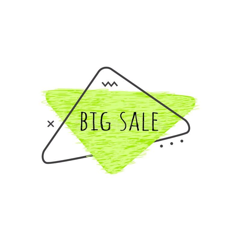 Duży sprzedaż tekst na wapno zieleni grunge trójgraniastej odznace dla promoci i reklamowego sztandaru projekta ilustracji