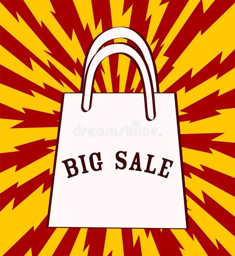 Duży sprzedaży zawiadomienie z torba na zakupy nad czerwonym tłem Vec ilustracja wektor