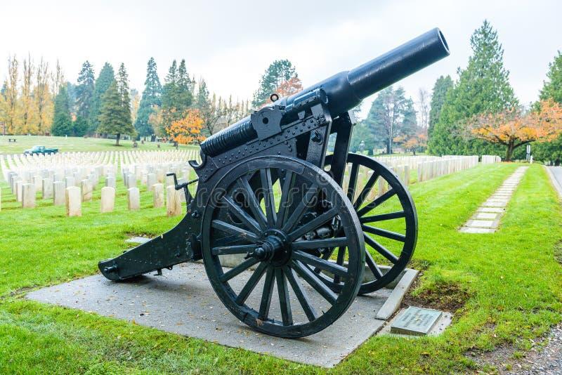 Duży stary pistolet w doniosłym jardzie w militarnej strefie obrazy stock