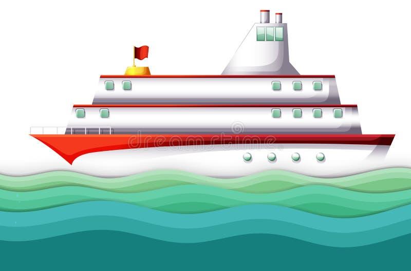Duży statek w oceanie ilustracja wektor