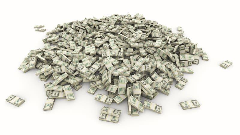 Duży stos amerykańscy dolary na białym tle ilustracji