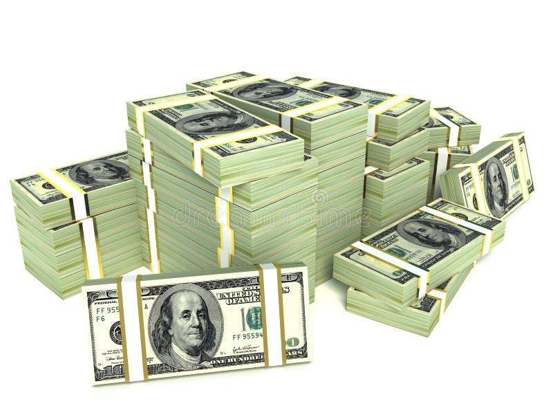 Duży stos pieniądze. dolary nad białym tłem royalty ilustracja