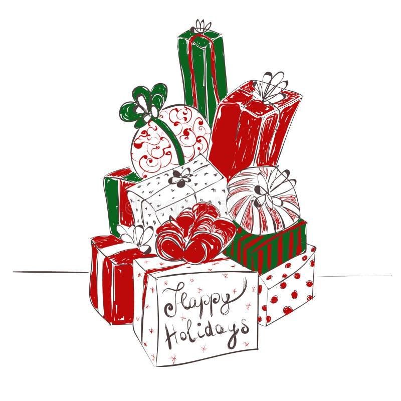 Duży stos prezentów pudełka Handdrawn wektorowa ilustracja z Szczęśliwym wakacje tekstem na białym tle royalty ilustracja