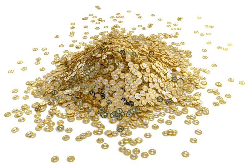 Duży stos złote Dolarowe monety royalty ilustracja