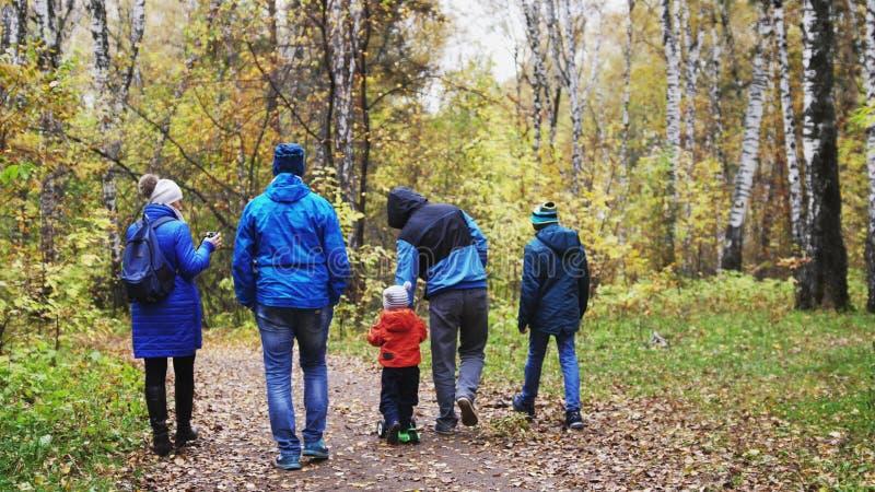 Duży szczęśliwy rodzinny odprowadzenie wzdłuż parkowego pasa ruchu na jesień dniu obraz stock