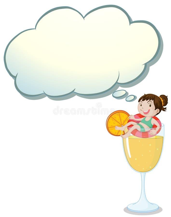 Duży szkło sok pomarańczowy z uśmiechniętą dziewczyną ilustracji