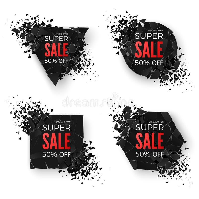 duży sztandar sprzedaż Wybucha Geometrycznych kształtów sztandary Specjalnej oferty sztandar Sprzedaż sztandaru szablony Abstrakc ilustracja wektor