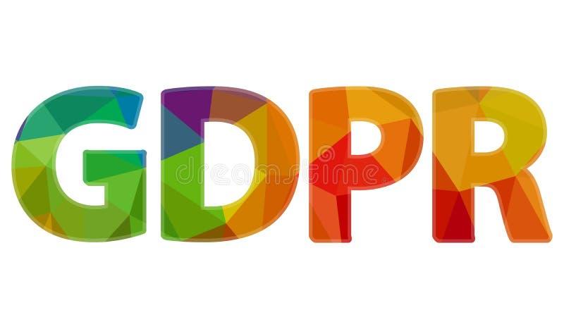 Duży tęcza znak GDPR zdjęcie stock