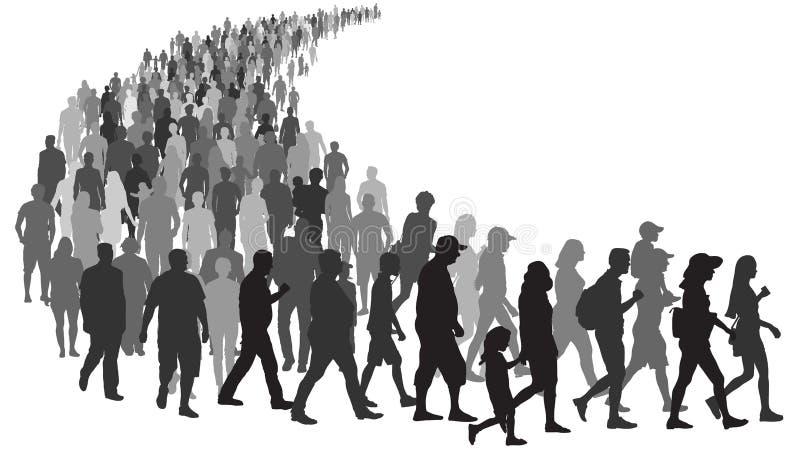 Duży tłum ludzie iść kolejka Ludzie stoją w linii przy sklepem Grupa uchodźcy przesiedleńczy kryzys w Europa ilustracji