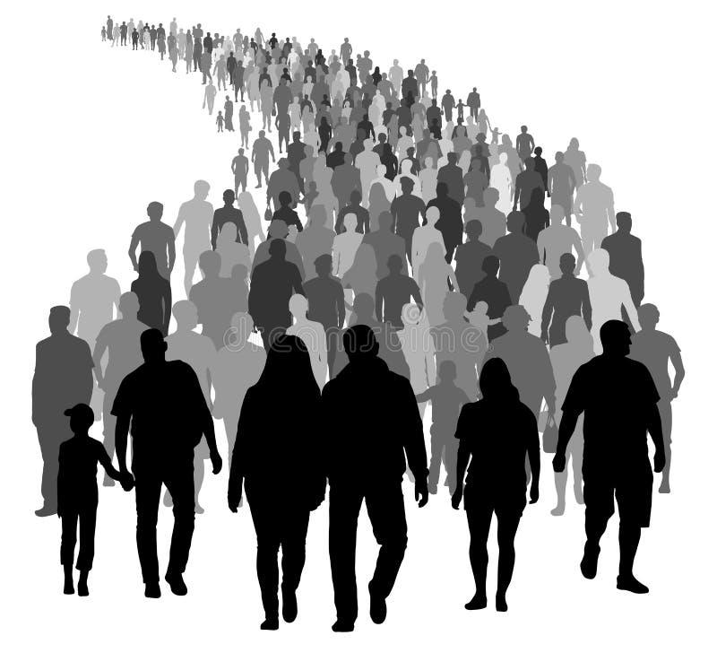 Duży tłum ludzie rusza się Sylwetka wektor royalty ilustracja