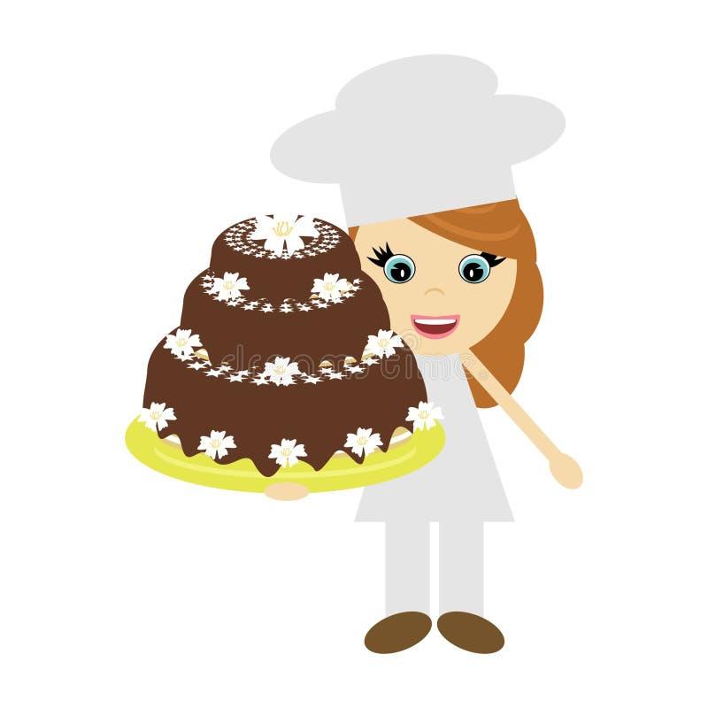 duży torta kucharza dziewczyna ilustracja wektor