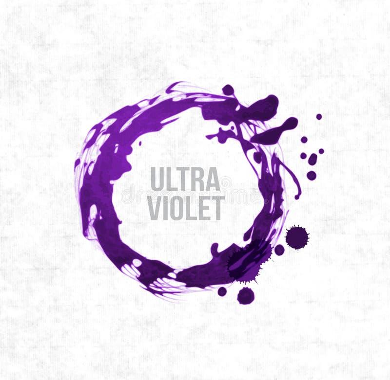 Duży ultrafioletowy purpurowy grunge okrąg na ryżowego papieru tle Kolor rok 2018 ilustracji