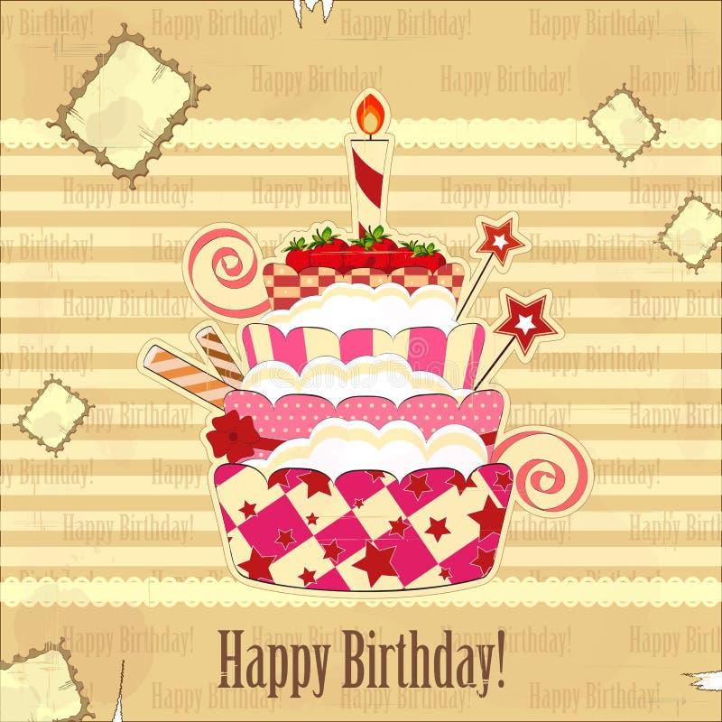 duży urodzinowego torta truskawka ilustracja wektor