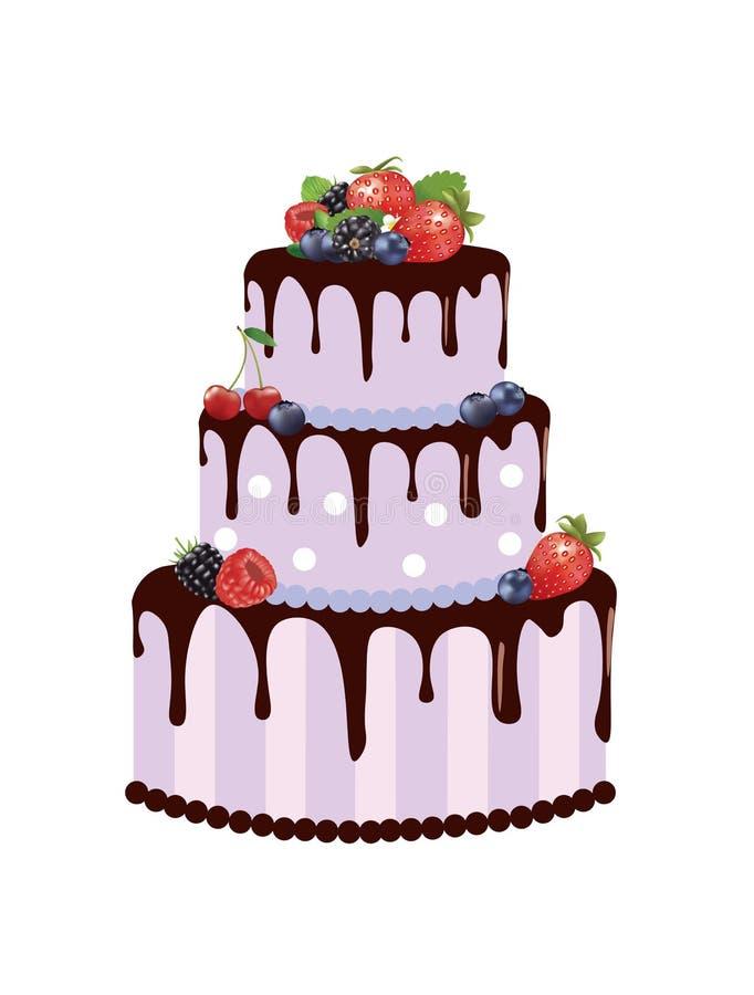 Duży urodzinowy tort z lasowymi owoc ilustracji