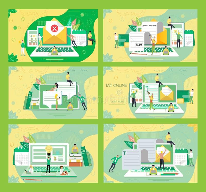 Duży ustalony wektor lądowanie strony online podatek zapłata ilustracja wektor