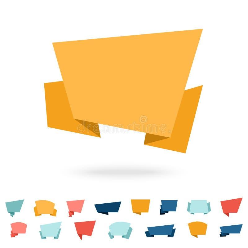 Duży wektor ustawiający - płaska origami papieru mowa gulgocze ilustracji
