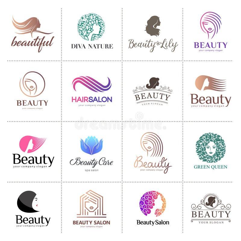 Duży wektorowy logo ustawiający dla piękno salonu, włosiany salon, kosmetyk royalty ilustracja